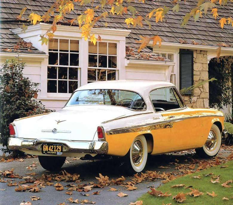 Rear Right Yellow and White 1955 Studebaker President State Picture